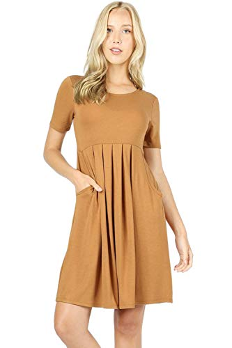 Women's Pleated Swing Dress Short Sleeve Casual T Shirt Loose Dress with Pockets - Coffee (Small)