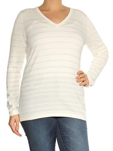Tommy Hilfiger Ivory Women's Large Stripe V-Neck Sweater White Ivory L