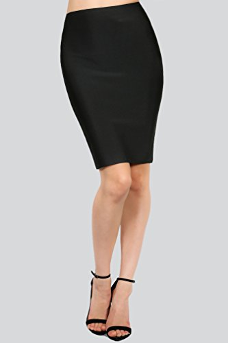 Wow-Couture-Womens-Basic-Bandage-Pencil-Skirt-Black