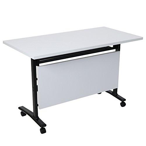 スタッキングテーブル 跳ね上げ式 幕板付 約W120×約D60×約H75.5 約W1200×約D600×約H755 キャスター付 棚付 会議テーブル スタックテーブル ストッパー付 長机 会議机 会議デスク フォールディングテーブル オフィステーブル 会議用 折り畳み deskt087120 (天板色:ホワイト 脚色:ブラック) B072MPRYM9 天板色:ホワイト 脚色:ブラック 天板色:ホワイト 脚色:ブラック