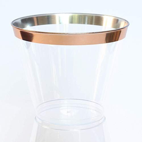 100 Plastic Party Cups with Rose Gold Rim 9 oz | Clear Hard Fancy Rimmed Tumblers for Wedding, Bachelorette, Birthday, Drinks and Desserts | Disposable, Reusable and Recyclable]()