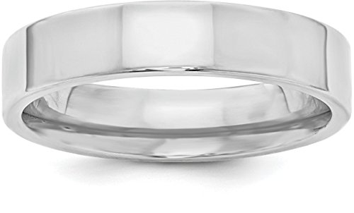 Satin Band Sterling Silver Ring (Sterling Silver 5mm Plain Flat Classic Comfort-fit Wedding Band - Size 13)