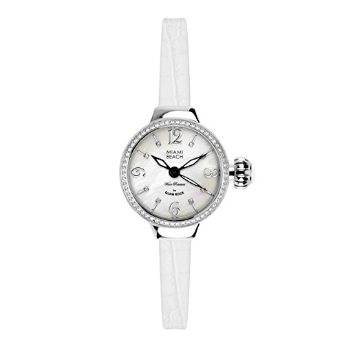 Glam Rock Miami Beach Art Deco collection MBD27200 36mm Stainless Steel Case White Calfskin Mineral Women's Watch