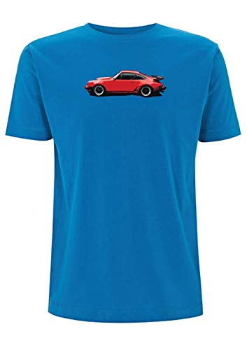 Porsche 911 Turbo Men's T-Shirt Red Aircooled 930 Classic Car 3.3 1978 Flat Six Collectable (Large, Electric Blue)