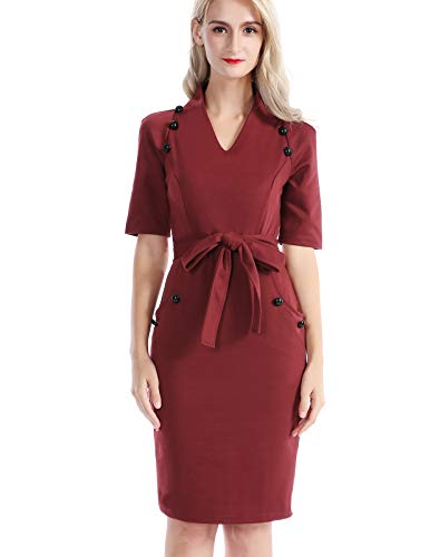 (CHICIRIS Women Casual V-Neck Cocktailed Solid Belted Dress with Buttons Size M Wine)