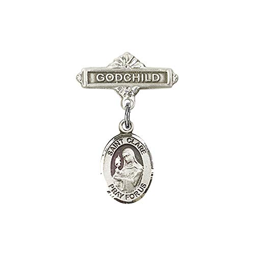 DiamondJewelryNY Baby Badge with St. Clare of Assisi Charm and Godchild Badge Pin