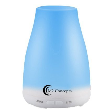 Ultrasonic Aromatherapy Essential Oil Diffuser (120ml) With Waterless Shutoff and 7 LED Changing Colors - by M2 Global Concepts