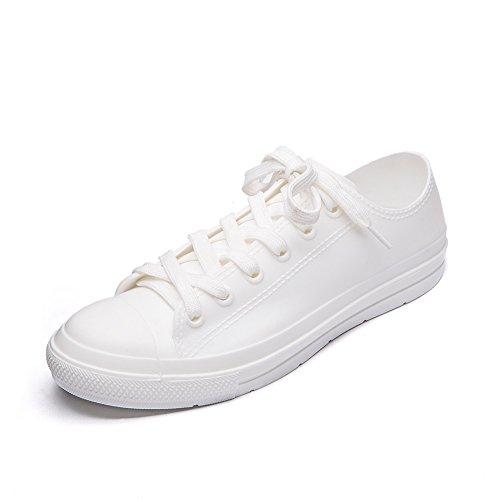 DKSUKO Casual Rain Shoes Women Waterproof Sneakers with Shoelace Tenis Feminino Flat Shoes Color 9 KWA01 (6 B(M) US, White)