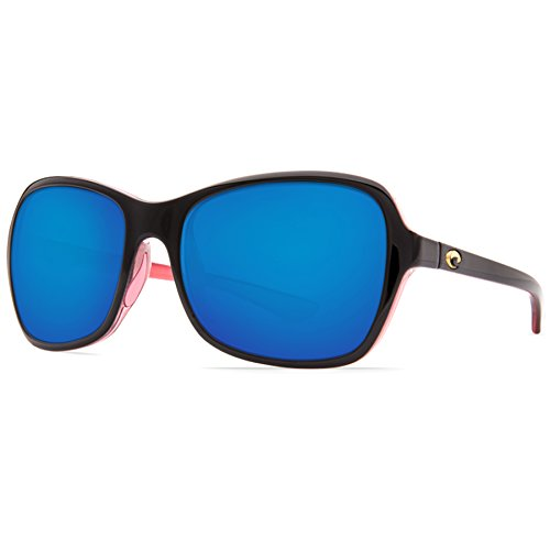 Costa Del Mar KAR132OBMP Kare Sunglass, Shiny Black Hibiscus Blue Mirror