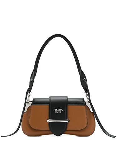 Luxury Fashion | Prada Woman 1BD168VOJN2AIXFOR6P Brown Leather Shoulder Bag | Fall Winter 19