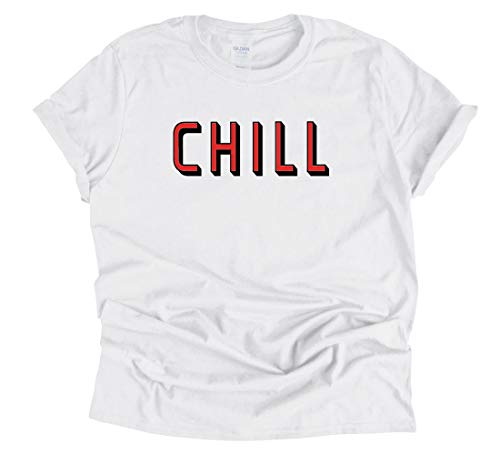 Chill T Shirt Funny Netflix and Chill Parody Shirt Halloween Costume (White, Medium)