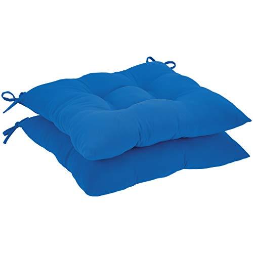 AmazonBasics Square Seat Patio Cushion, Set of 2- Blue
