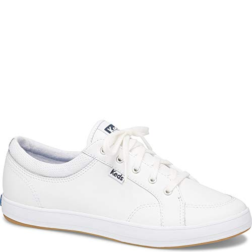 Keds Women's Center Leather Shoe, White, 7.5 M US