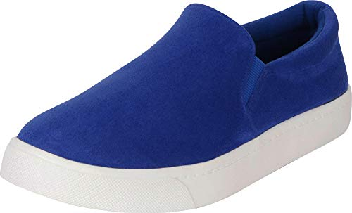 Cambridge Select Women's Classic Round Toe Stretch Slip-On Flatform Fashion Sneaker,8.5 M US,Electric Blue IMSU (Electric Blue Sneakers)