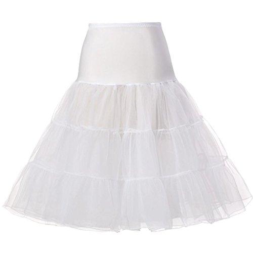 - Nihsatin Women's Vintage Rockabilly Petticoat Skirt Swing Tutu 1950s Crinoline Underskirt (White-Petticoat, Medium)