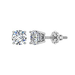 0.06 ct tw Small Four Prong Diamond Stud Earrings 14K White Gold