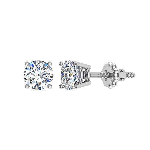 - 1/4 ct tw G VS1 Natural Round Diamond Studs 14K Gold Screw Back
