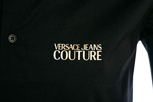 Versace Jeans Couture Poplin VJC Gold Logo Shirt in Black
