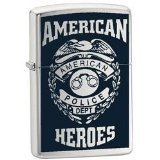 Zippo Lighter American Hero Police, Street Chrome