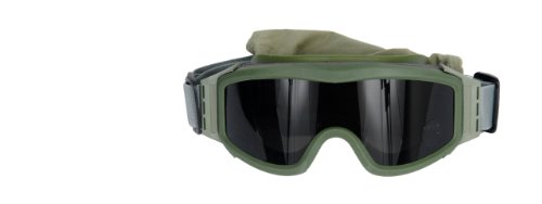 Lancer Tactical Airsoft Safety Goggles Basic - Smoke, Clear and Yellow Lens (Green)