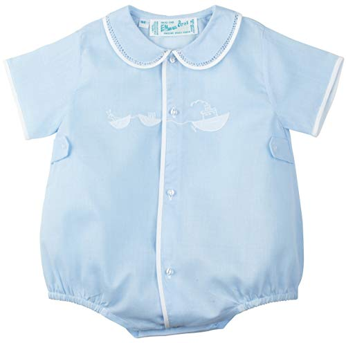- Feltman Brothers Infant Baby Boys Blue Bubble Outfit with White Embroidered Tugboat-Newborn