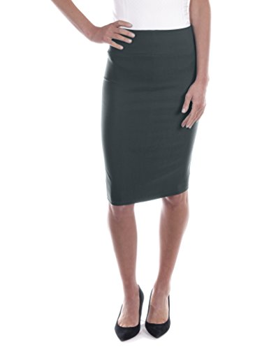 Women Casual Below Knee Pencil Skirt for Office Wear (Charcoal,Large)