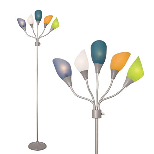 LIGHTACCENTS Floor Lamp 5 Light Stand Up Lamp Multi Head Standing Lamp with 5 Adjustable Multicolor Acrylic Reading Lamps - Floor Lamps for Bedrooms