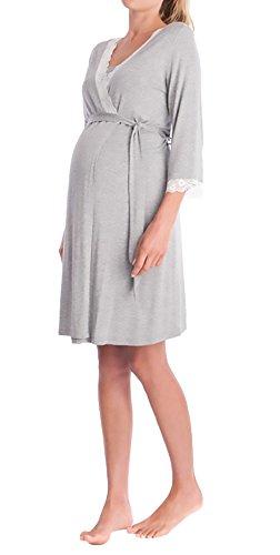 Camicia Elegante Grey Notte Pizzo Scollo Manica Ragazze 3 Light Cintura Pigiama V Giovane 4 Vestaglia Accappatoio Con Gravidanza Premaman Cucitura Da R6q577