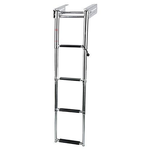 DasMarine 4-Step 316 Stainless Steel Telescoping Ladder, Slide Under Platform Mount Boarding Ladder with Retaining Rope (4 Step Ladder)