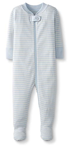 Moon and Back by Hanna Andersson Baby/ Toddler One-Piece Organic Cotton Footed Pajama, Blue, 3T