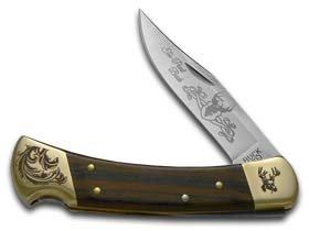 Buck 110 Wooden Ten Point Scrolled Bolster Stainless Folding Hunter Custom Knife Knives