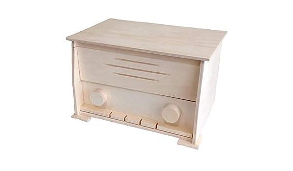 Caja radio madera. En crudo, para pintar. Medidas (ancho/fondo/alto): 32 * 22 * 20.5 cms.: Amazon.es: Hogar