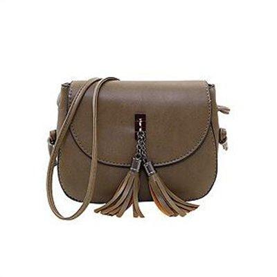 AASSDDFF Nuevas Mujeres de la Llegada Bolsas de Mensajero de Borla Bolsos de Diseñador de la Vendimia Bolsa de Hombro de Alta Calidad CrossBody Bag Mini Monedero, verde oscuro verde oscuro