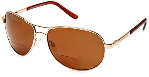 Suncloud Aviator +2.50 Polarized Reader Sunglasses, Gold Frame, Brown Polycarbonate - Frisco Sunglasses