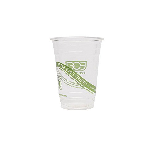Eco-Products EP-CC16-GS GreenStripe Renewable & Compostable Cold Cups, 16 oz, (Case of 1000) (Biodegradable Cups Cold)
