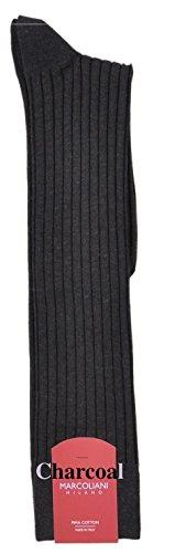 Mercerized Cotton Dress Sock (Marcoliani Men's Mercerized Cotton Lisle OTC 5x3 Rib Italian Dress Sock- 1 Pair)
