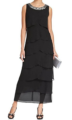 Dress Dresses Decor Sleeveless Beading Black Scoop of Chiffon Bride Mother Blevla Party Layered PqaCxqz