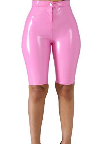 VNVNE Women's Latex Capri Shorts,Sexy High Waist Bodycon PU Leather Shiny Wet Look Faux Leather Pants (Pink, S)