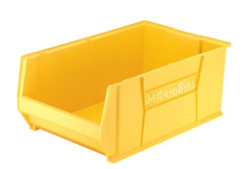 Akro-Mils 30290 29-Inch D by 18-Inch W by 12-Inch H Super Size Plastic Stacking Storage Akro Bin, Yellow by Akro-Mils