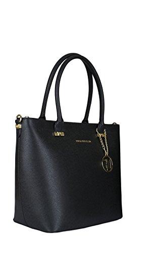 Borsa shopper Trussardi Jeans levanto nera Primavera Estate 2017 - 75B487XX, Nero, UNI