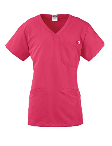 Medline Healthcare 5582PNKL Berkley AVE. Women's Scrub Top with 3 Pockets, Large, Pink