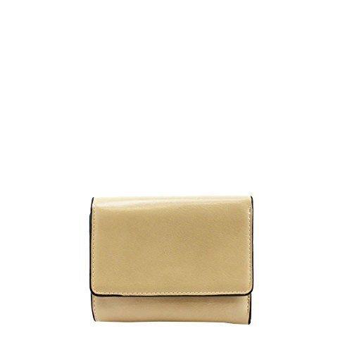 Haute für Diva S NEU einfarbig Kunstleder mit Reißverschluss Tasche Detail Damen gefalteter Geldbörse - Lila, Small Beige