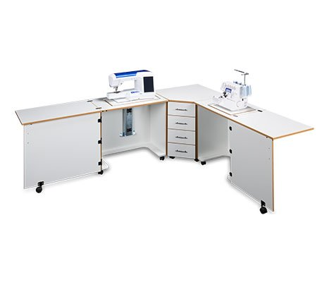 Sylvia Design Model 1810 Sewing Center, for large machines (White with Oak Trim)