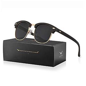 LUENX Retro Semi Rimless Sunglasses for Men and Women Polarized UV 400 Protection with Accessories