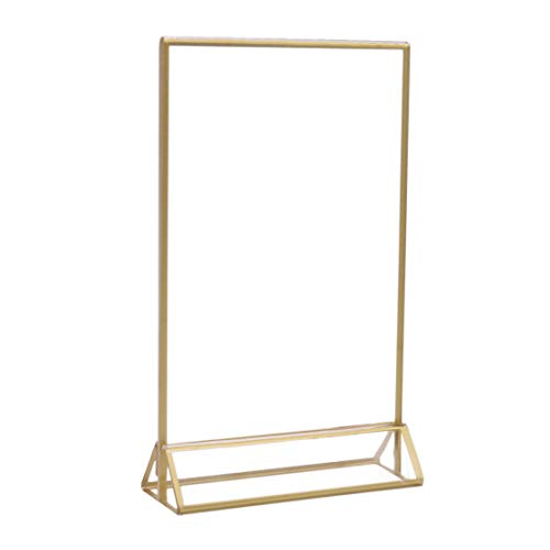 - UNIQOOO Acrylic Sign Holders with Gold Border, Pack of 6 | 4x6 Double Sided Clear Frame | Perfect for Wedding Table Numbers, Photo Display, Restaurant Menu Food Sign, Promotion Ad
