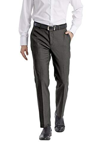 Calvin Klein Men's Slim Fit Performance Flat Front Stretch Dress Pant, Grey, 34W x 30L