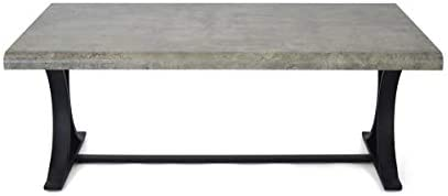 Christopher Knight Home Alotian Modern Industrial Coffee Table with Trestle Legs by Light Concrete 141[並行輸入]
