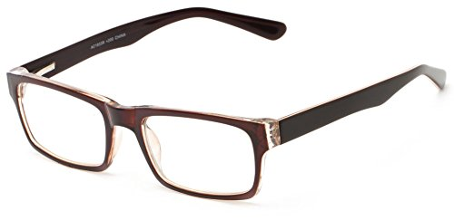 Readers.com The Snow +2.25 Brown/Black Thick Acetate Optical Quality Glasses Frame Rectangle Reading - Glasses Black Rectangle Thick