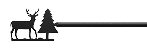 Iron Deer & Pine Curtain Rod-Curtain Pole Only - Adjustable Curtain Rod Extends 36