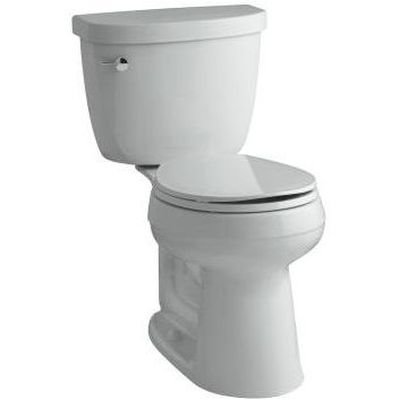(KOHLER K-3887-95 Cimarron Comfort Height Two-Piece Round-Front 1.28 GPF Toilet with AquaPiston Flush Technology and Left-Hand Trip Lever, Ice Grey)